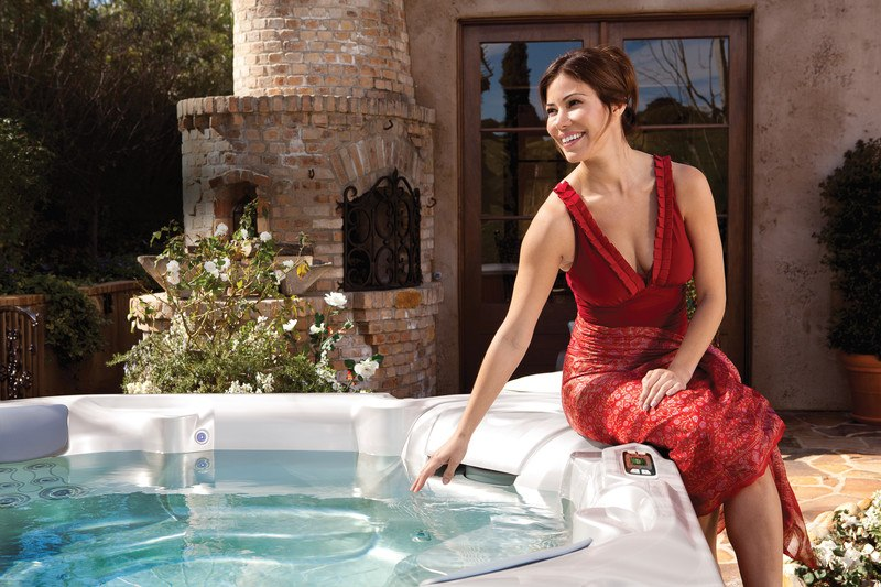 Making sure the hot tub's good to go.