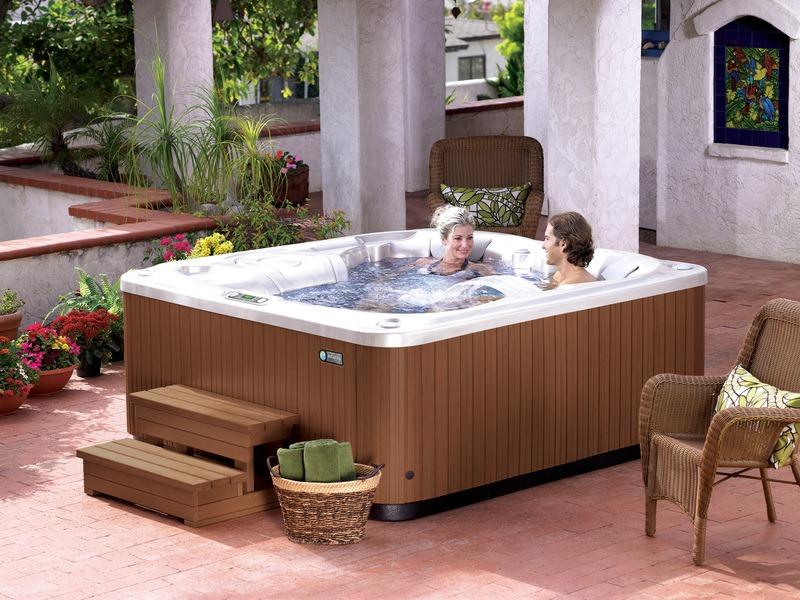 Enjoying clean water in a pristine spa.