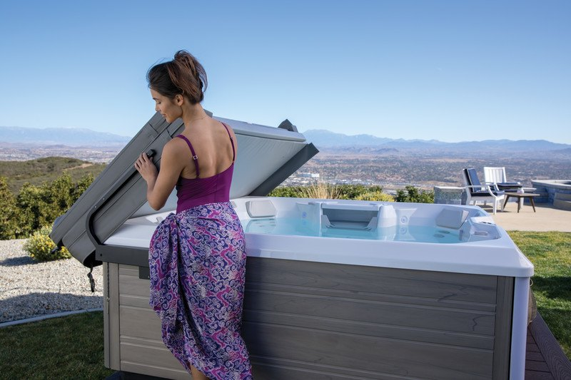 Testing your spa water is as easy as lifting the cover.