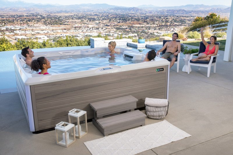 Spa steps make entering and exiting your hot tub a breeze.
