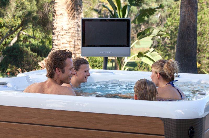 Spa & Hot Tub Accessories - A wireless entertainment system and TV monitor complement the Highlife NXT® Vanguard hot tub.