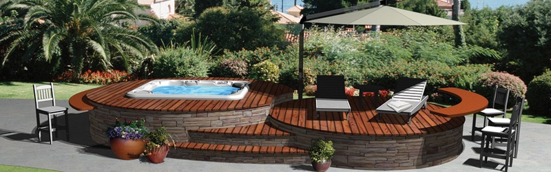 Let Hot Spring help you design a custom deck for your spa