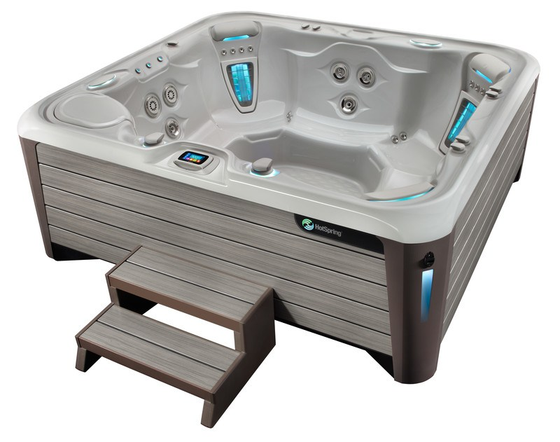 The Highlife Grandee is a large, luxurious hot tub with features for a customized look and soak.