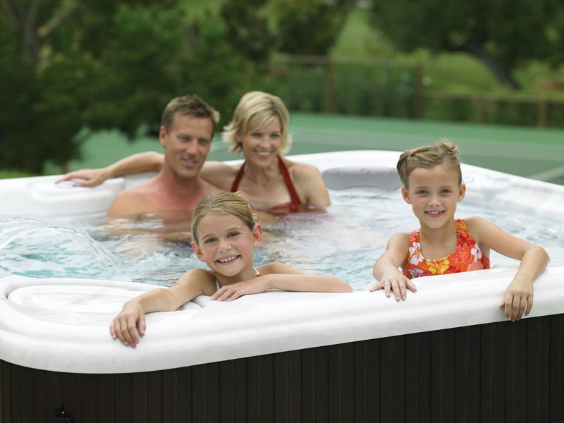 Family vacation memories in the hot tub.